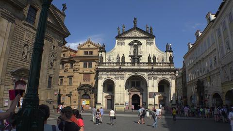 Square Charles Bridge in Prague. Krizovnicka area. 4K Footage