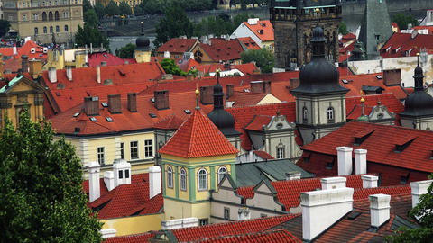 Prague. Old Prague. Top view. Architecture, old houses, streets and neighborhood Footage