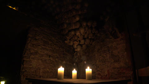 Historic Tavern, A Restaurant With Skulls And Bones In Prague. 4K stock footage