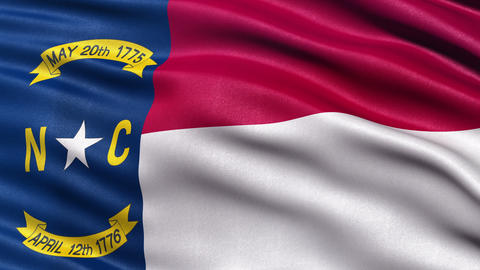 4K North Carolina state flag seamless loop Ultra-HD Animation