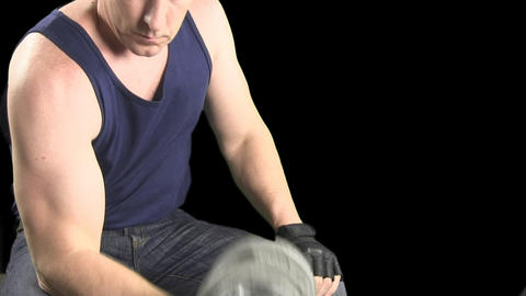 Seated Dumbbell Curls With Alpha Channel stock footage