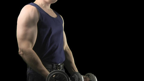Standing dumbbell curls with alpha channel Footage