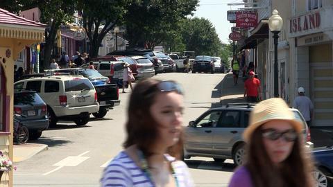 Busy streets of Oak Bluffs Footage