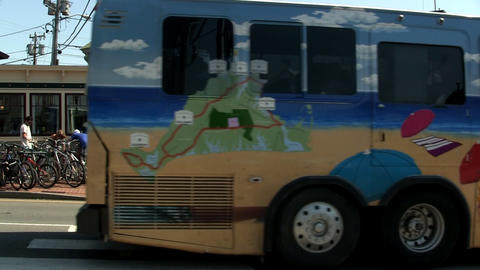 Tour Bus In Oak Bluffs stock footage