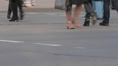 1080p Ungraded: Legs of People Who Cross Street at Pedestrian Crossing Live Action