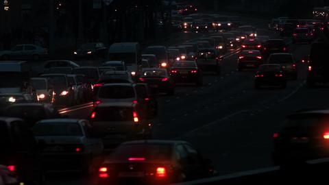 1080p Heavy Traffic on Night Street Footage