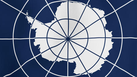 Loopable: Antarctic Treaty Flag Waving in Wind Footage