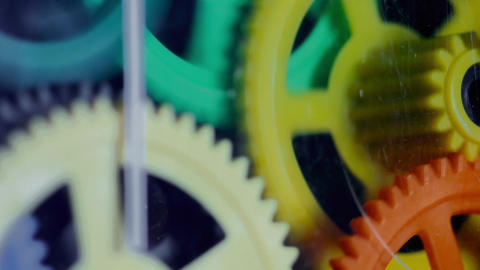 1080p Colorful Plastic Gears Rotate Synchronously Footage