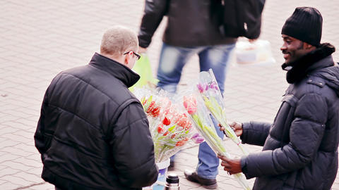 Black Man Buys Flowers From Street Vendor Footage
