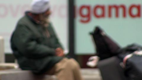 Homeless man talking to himself Footage