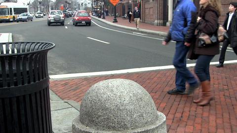 Pedestrians crossing street Footage
