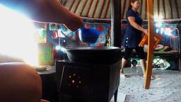 Transfusion Of Traditional Tea And Home Furnishings In The Mongolian Yurt stock footage