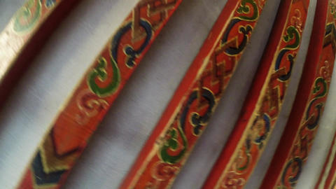 view of the painted ceiling of the roof in the Mongolian yurt Footage