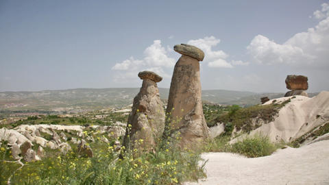 Cappadocia, Rocks In The Form Of Stone Mushrooms stock footage