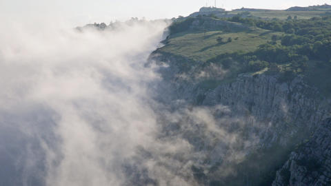 Clouds Move Below Rocks On The Mountain Ai Petri, The Crimea stock footage