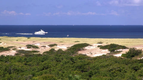 Zoomed shot of race point beach and Atlantic ocean from high vantage point of bi Footage