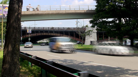 Time-lapse of traffic winding along storrow drive in Boston near Charles river Footage