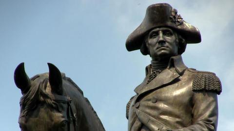 George Washington Equestrian Statue at Boston public gardens against blue sky Footage