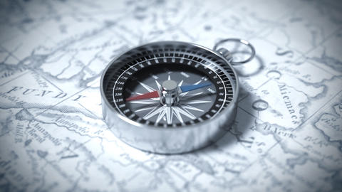 Compass On A Map stock footage