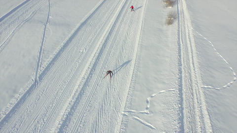 AERIAL: People Cross-country Skiing In Winter stock footage
