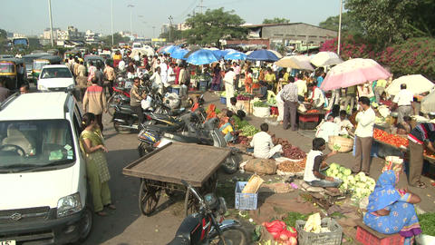 Indian Roadside Vegetable Market Footage