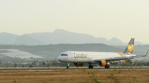 Turbojet Plane Landing at Majorca Airport 4k Footage