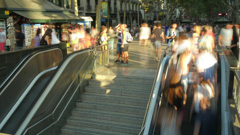 Crowded Mechanic Stairs in Downtown Barcelona Footage