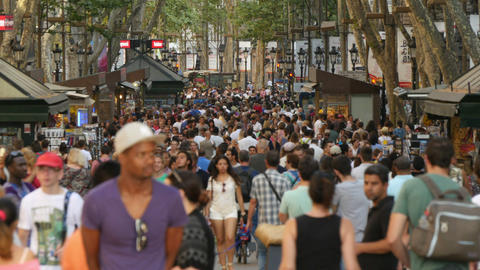 Crowded Les Rambles Boulevard in Downtown Barcelona Live Action