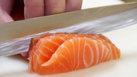 Sushi Chef Slicing A Salmon Steak Nigiri Style 4k stock footage