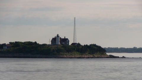 Passing nobska light house in woods hole Falmouth Cape Cod from ferry boat in ea Footage