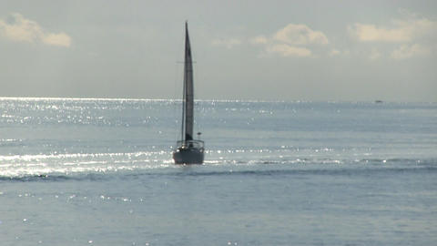 Sailboat in vineyard sound in early morning from deck of ferry boat on way to Ma Footage