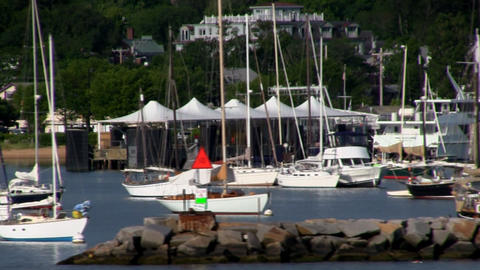 Sailboats anchored in Vineyard Haven on island of Martha's Vineyard. View from d Footage