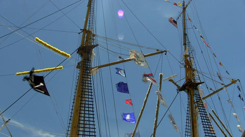 Tall ship masts, rigging and flags Footage