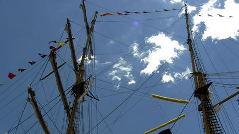 Tall ship rigging, flags and masts; 2 Footage