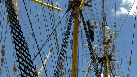 Tall ship rigging, flags and masts; 6 Footage