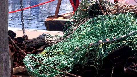 Nets and rigging on fishing boat at Menemsha harbor Martha's Vineyard Footage