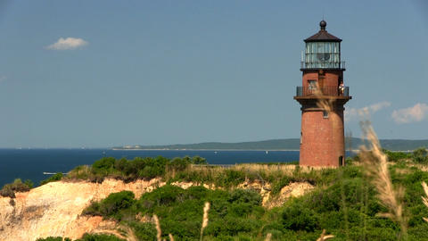 Gay Head Aquinnah lighthouse from observation deck on Martha's Vineyard Footage