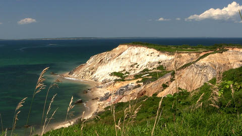 Colorful clay cliffs of Gay Head Aquinnah from observation deck on Martha's Vine Footage