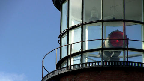 Close-up of lighthouse at Gay Head Aquinnah on Martha's Vineyard with rotating r Footage