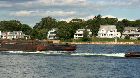 Tug boat pulls barge Cape Cod canal Footage