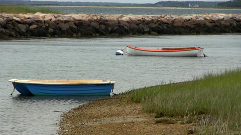 Boats Moored At Low Tide stock footage
