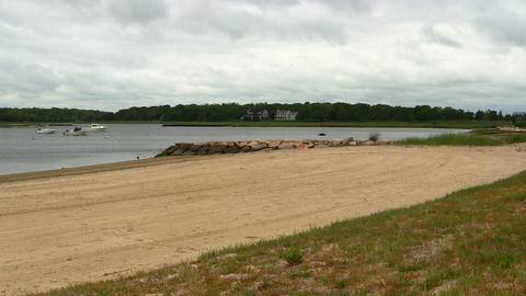 Beach & boats on cloudy day Cape Cod Footage