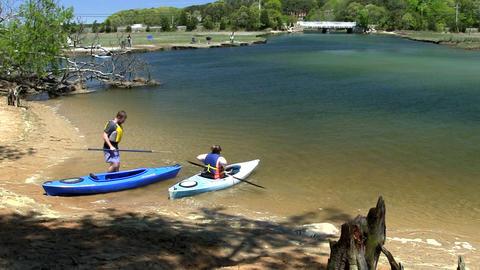 Couple Kayaking Scorton Creek Sandwich Cape Cod stock footage