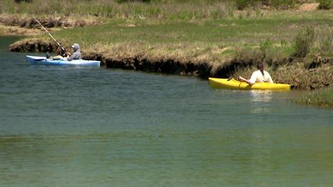 Fishing kayaker Scorton Creek Sandwich Cape Cod Footage