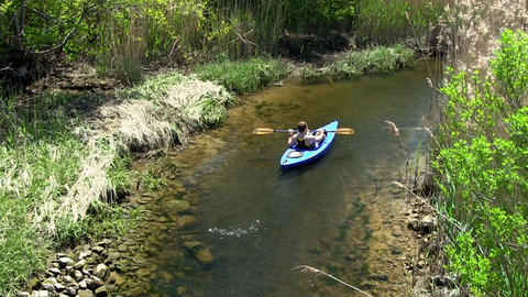 Upstream male kayaker Scorton Creek Sandwich Cape Cod Footage