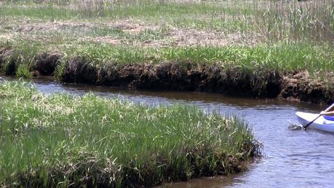 Zoomed kayak paddle board river bend marsh Scorton Creek Sandwich Cape Cod; 2 Footage
