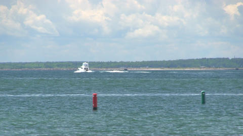 Motor boat on buzzards bay Cape Cod; 2 Footage