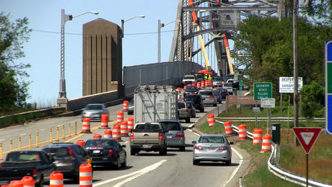 Bridge traffic merge construction Cape Cod; 3 Footage