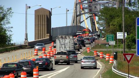 Bridge traffic merge construction Cape Cod; 3 Footage