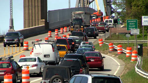 Bridge traffic merge construction Cape Cod; 4 Footage